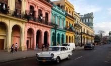 Classic Cars And Antique Buildings In Havana, Cuba