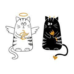 Fototapeta Kot Cute cartoon cats, angel and devil. Vector illustration.