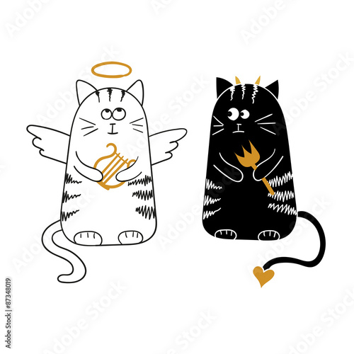 Cute cartoon cats, angel and devil. Vector illustration. - 87348019