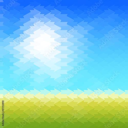 Spoed Foto op Canvas Turkoois Shiny sun background made of arrow pattern