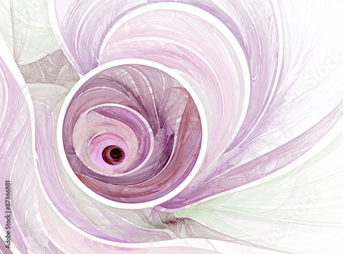 Poster Fractal waves Abstract pink fractal background on the white