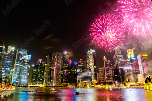 Photo  Singapore Cityscape at night , Singapore - 17July 2015