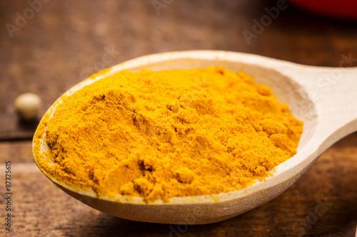 Cadres-photo bureau Condiment Close up of measuring spoon in pile of organic turmeric (curcuma) powder