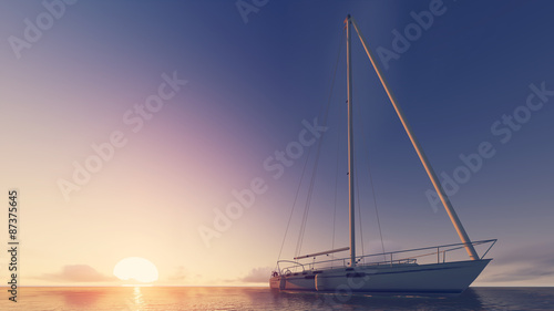 Fotografie, Obraz sailboat and sunset
