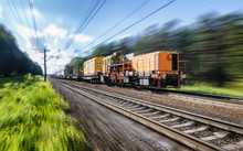 Special Railway Transport Fast Motion With Blur