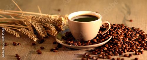 Spoed Foto op Canvas Koffiebonen Kaffee, Kaffeetasse, Morgen