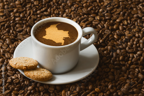 Fotografía  Still life - coffee with map of Colombia