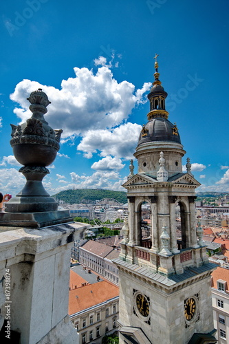 Fotobehang Fontaine View from St. Stephan basilica, Budapest Hungary