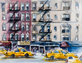 Busy New York street. Watercolor sketch - 87408048