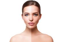 Woman Face With Half Tan Skin