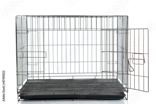 wire dog crate or animal cage Canvas Print