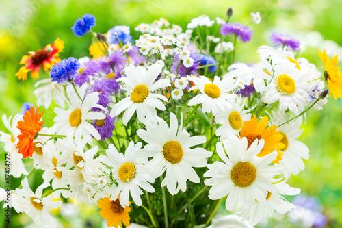 plakat bukiet kwiatów letnich