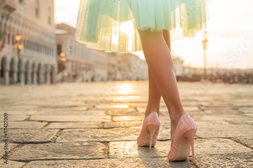 Fashionable woman wearing high heel shoes