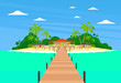 Tropical Island Long Pier Summer Vacation Paradise Ocean