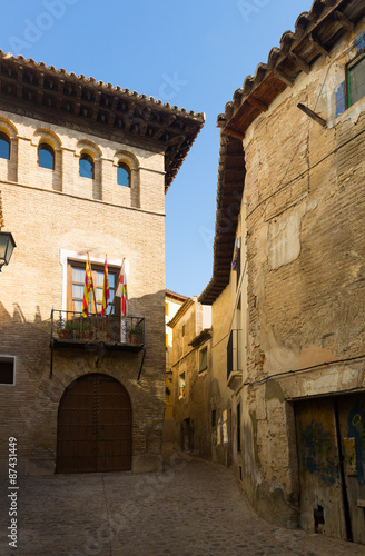 Narrow street at old spanish town. Borja плакат