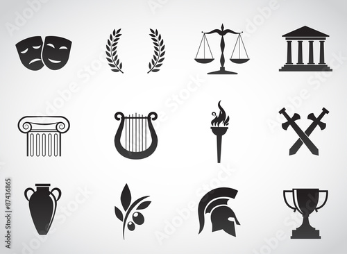 Leinwand Poster Greek, ancient icon set. Vector art.