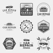 vector set of car repair service labels, badges and design eleme