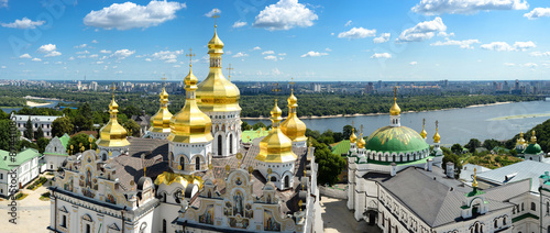 Foto op Canvas Kiev Panorama of Assumption Church/Panorama of Assumption Church, Lavra and on background of blue sky, clouds and Dnieper river, Kiev, Ukraine