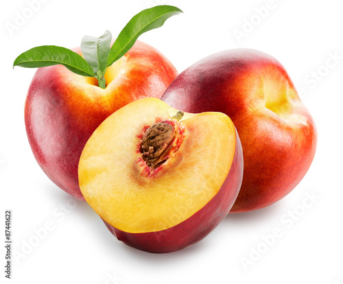 Foto op Aluminium Vruchten nectarines with leaves isolated on the white background