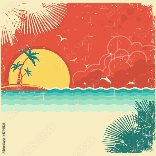 Photo Stands Turquoise Vintage nature tropical seascape background with island and palm