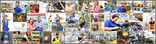 Berufe in der Industrie, Handwerk, Handel und Dienstleistung (Industriearbeiter, Canvas Print