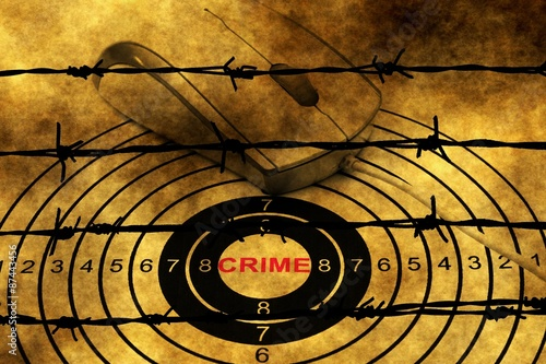 Photo  Crime target concept against barbwire