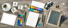 Artistic Workplace Mockup. Watercolor, Brushes, Digital Tablet,