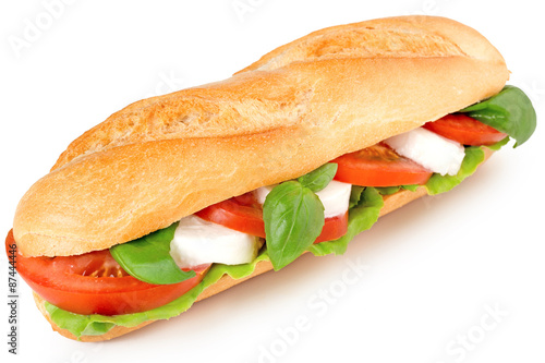 Poster Snack sandwich with caprese salad isolated on white