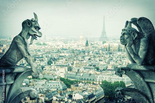 Fotografie, Obraz Kamenné démoni Gargoyle und chiméru. Notre Dame de Paris
