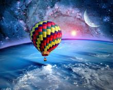Hot Air Balloon Fairy Tale Landscape Fantasy Moon Earth Sun. Elements Of This Image Furnished By NASA.
