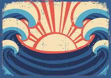 Sea Poster.Grunge Illustration Of Sea Landscape.