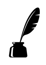 Quill In Inkwell On White Background