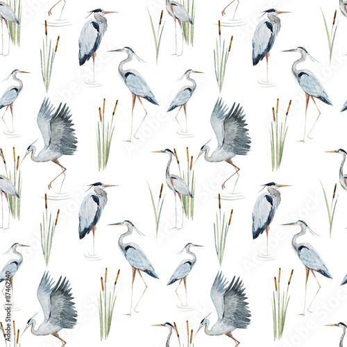 Fotografía Watercolor heron pattern