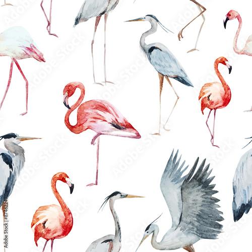 Canvas Prints Flamingo Bird Flamngo and heron pattern