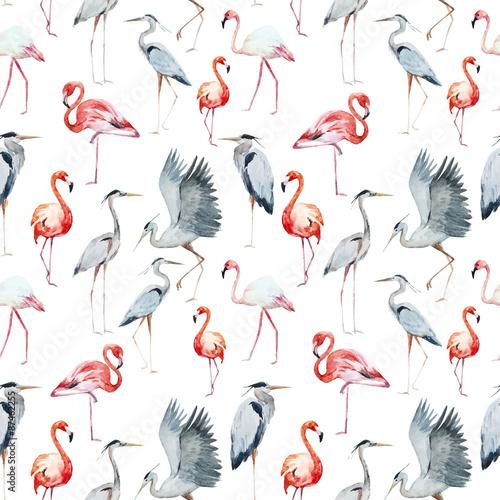 Cuadros en Lienzo Flamngo and heron pattern