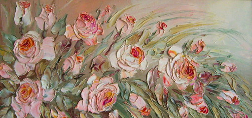 FototapetaOriginal oil painting The roses