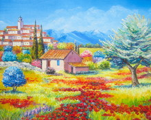 Original Oil Painting The Poppies Field