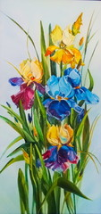 Obraz na Plexi Original oil painting Irises