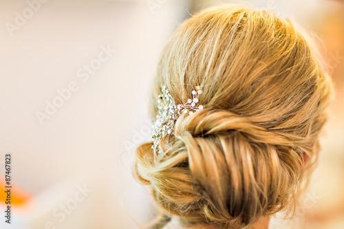 Fotografie, Obraz  Stylist makes wedding hairstyle