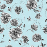 Vintage monochrome watercolor seamless pattern with wildflowers