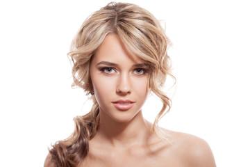 Beautiful Blonde Girl. Healthy Long Curly Hair.