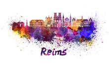 Reims Skyline In Watercolor