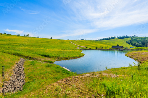 Foto auf Gartenposter Hugel Green meadow with flowers and beautiful lake in summer landscape of Tatra Mountains, Slovakia