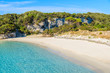 View of sandy Petit Sperone beach with azure sea water, Corsica island, France