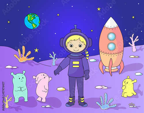 Spoed Foto op Canvas Violet Cute friendly martians greeting astronaut on their planet. Cosmo