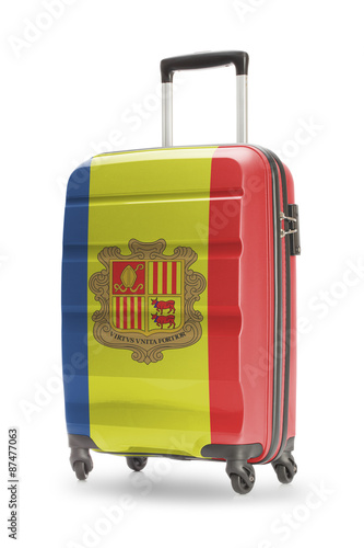 Fototapety, obrazy: Suitcase with national flag on it - Andorra