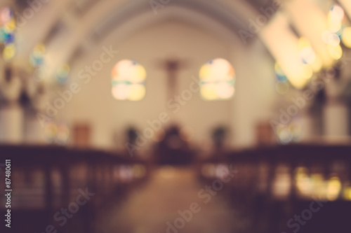 Photo sur Toile Lieu de culte church interior blur abstract background