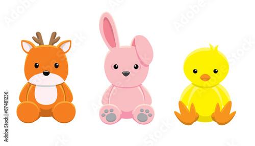 Fotografia Doll Deer Rabbit Chick Vector Illustration