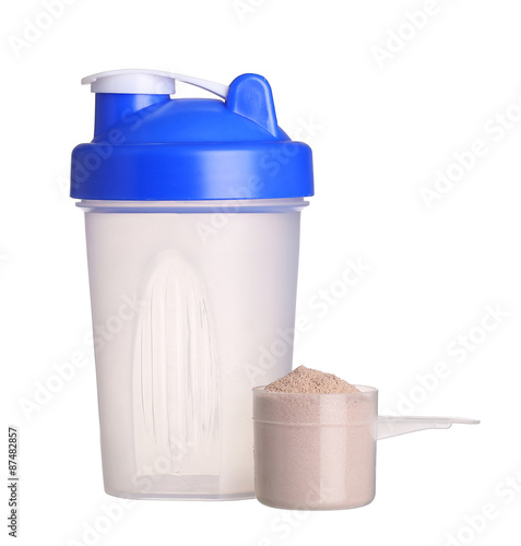 Fotografia  Shaker and cup of protein powder isolated on white background