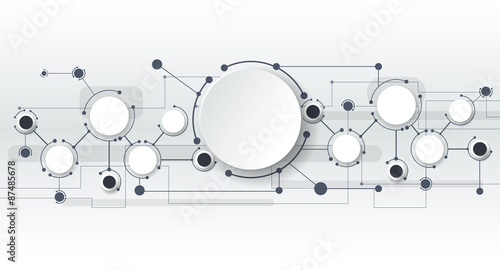 Vector illustration of abstract molecules and communication technology concept with label circles design and space for your content, business, social media, network and web design.